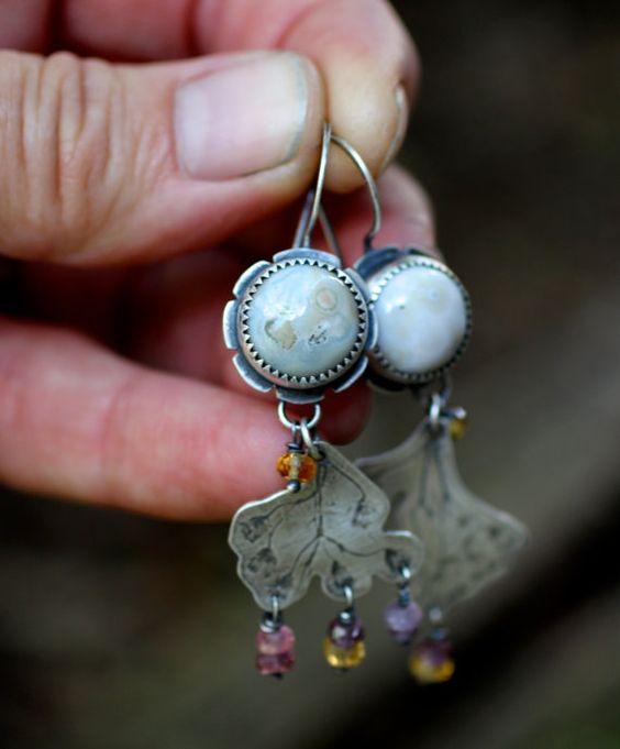 Reserved for JJ - Into the Wild Earrings - Ocean Jasper, Golden Topaz & Spinel Beads, Sterling Silver - Talisman, Nature, OOAK