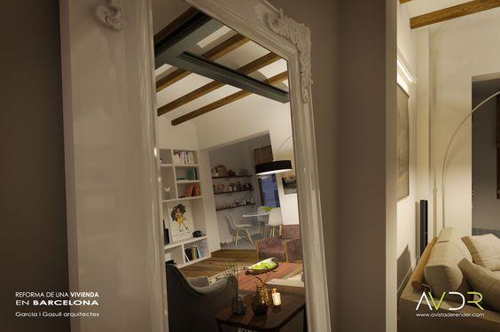 Renders de la reforma de una vivienda situada en un edificio plurifamiliar de Barcelona.   www.avistaderender.com