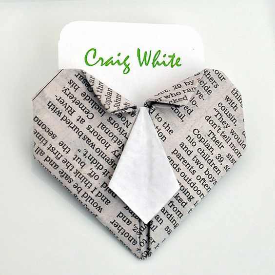 The Cheese Thief: How to Fold an Origami Heart With Necktie Place Card