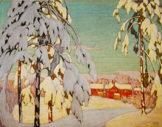 """""""Winter Landscape with Pink House"""" by Lawren Harris, 1918 (Canadian artist from the Group of Seven.)"""