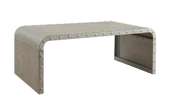 Transitional Galvanized Wood Sleek Solid Nailhead Accents Coffee Table