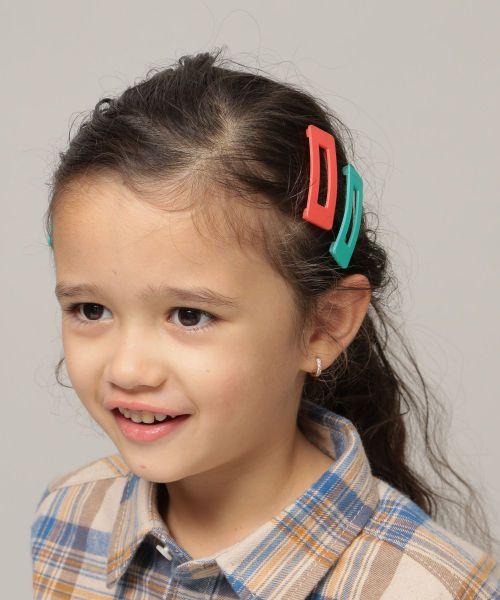 Kids スクエアヘアピン 2020 ヘアピン ピンクカラー Vネックニット