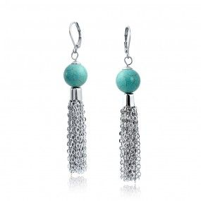 Bling Jewelry Synthetic Turquoise Tassel Leverback Earrings Rhodium Plated 12mm