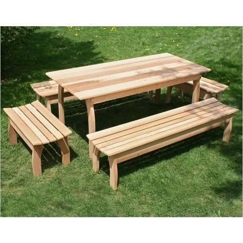 70 L X 32 W Cedar Family Dining Set In 2020 Outdoor Dining Set Picnic Table Dining Set