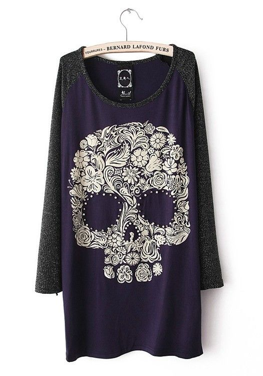 Blue Skull Collarless Long Sleeve Cotton Blend T-Shirt