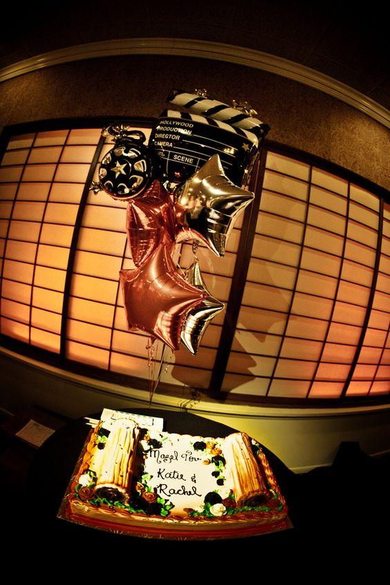 Hollywood Movie B'nai Mitzvah Cake shaped like Torah - mazelmoments.com