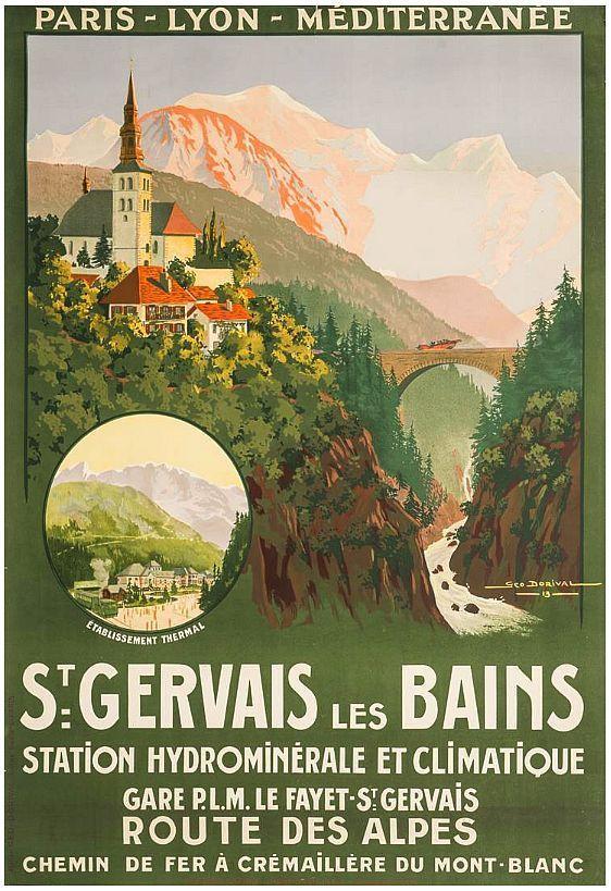 Affiche chemin de fer PLM Route des Alpes