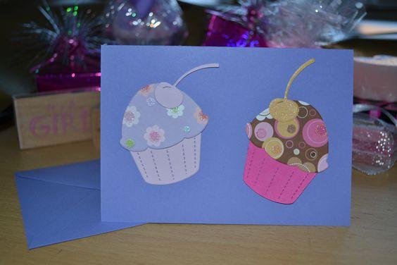 Purple Retro Cupcake Card, £2.15