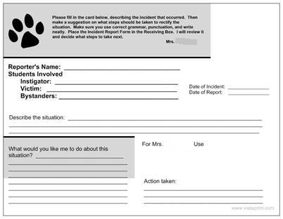 Teaching in Room 6 Incident Reports -- AKA Dealing with Tattling - incident report forms