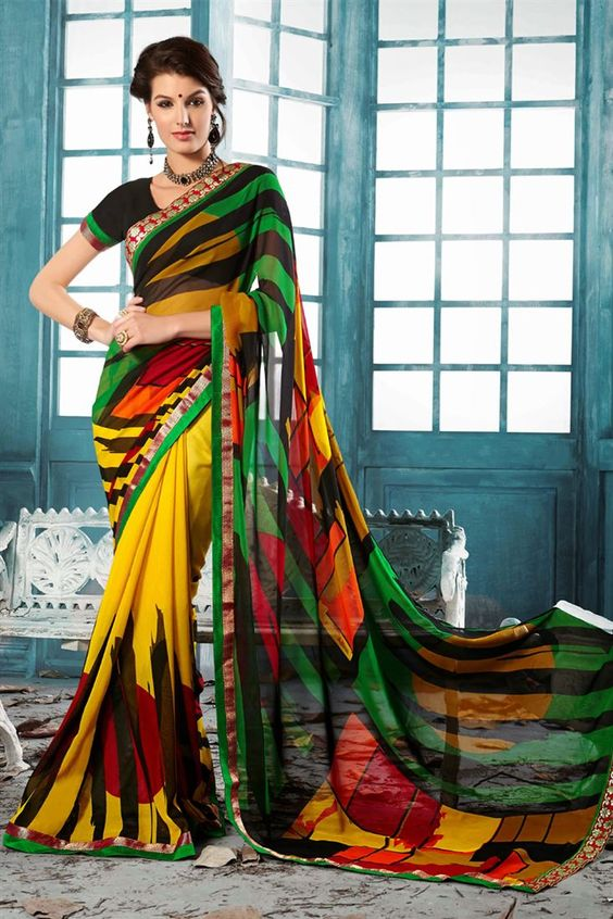 MUlti color designer printed saree with matching black blouse.