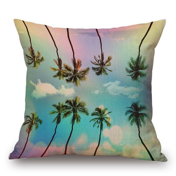 $7.70 Beach Plam Tree Inverted Bright Sky Pattern Pillow Case