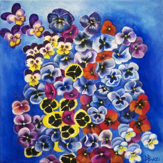 """For Sale: Pansy Fiesta by Debra Bucci   $250   12""""w x 12""""h   Original Art   http://www.vangoart.co/buy/art/pansy-fiesta @VangoArt"""