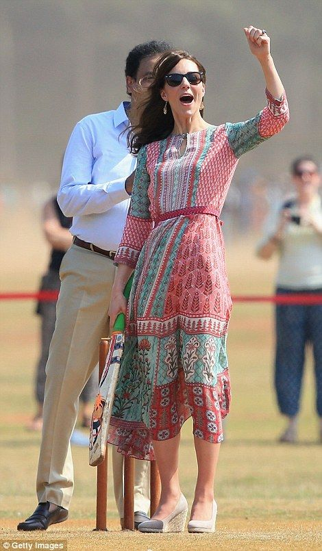Kate appeared to be a natural as she celebrated smacking the ball for six - April 10, 2016:
