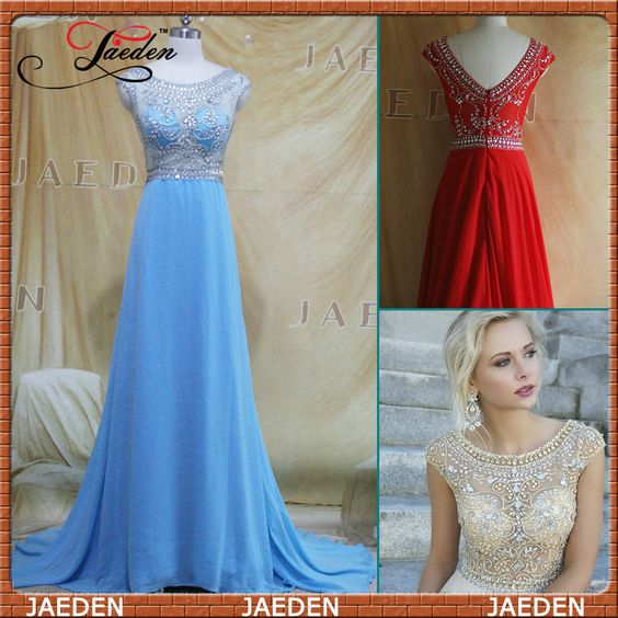 HP007 Cap Sleeve Crystals Chiffon Long Sheer Bodice Party Gown Long Blue Prom Dress $149.99
