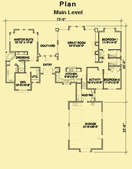 Separate master suite plans single story floor plans for One story house plans with connecting in law suite