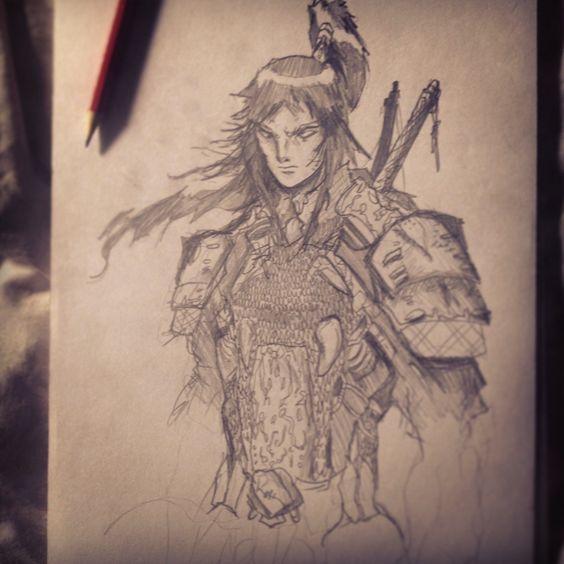 Pencil sketch of Samanosuke from Onimusha.