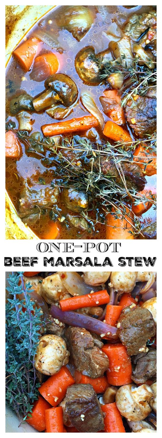 One Pot Beef Marsala Stew Lunch or Dinner Recipe | Reluctant Entertainer #onepotmeals #onepotbeef #beefmarsalastew #stew #onepotrecipe #onepot