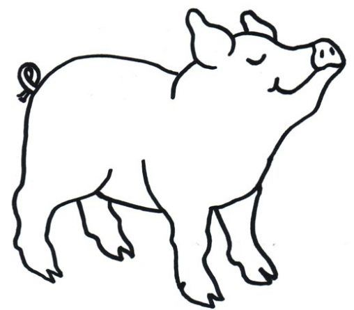 Dibujo infantil de cerdo para colorear infantil for Dibujos pared infantil