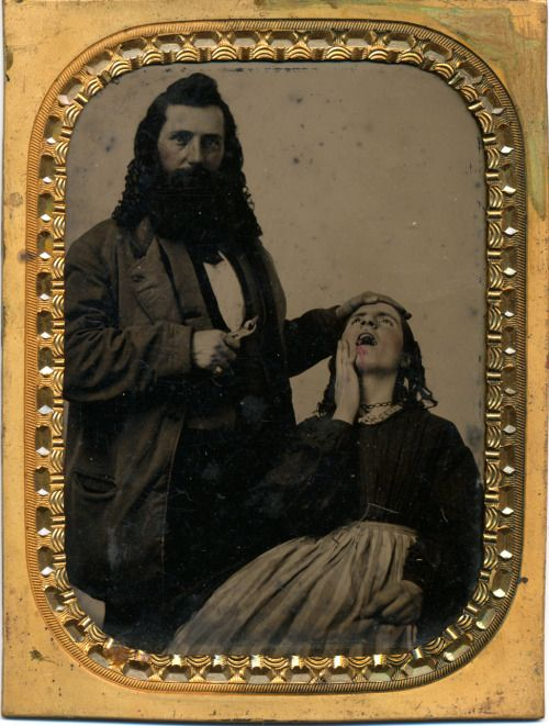 ca. 1860-80s, [hand-tinted tintype portrait of a proud dentist with a pulled tooth of his bloodied patient] via Be-Hold, Photographic Gallery