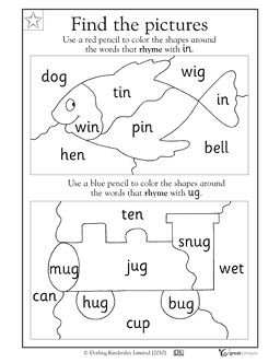 math worksheet : rhyming words the picture and worksheets on pinterest : Reading Worksheets For Kindergarten