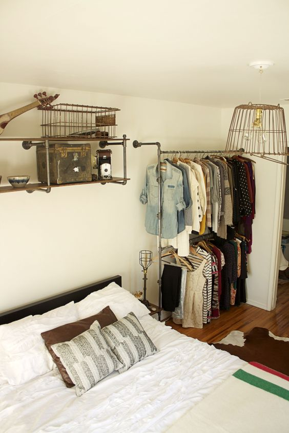 Open closets closet and pipes on pinterest - Open closets small spaces paint ...