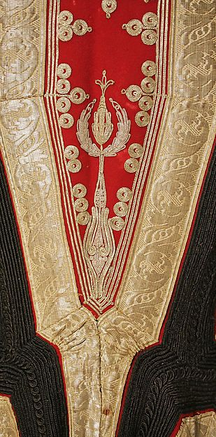 Wedding ensemble Date: late 19th century Culture: Albanian Medium: silk, cotton, metallic thread Dimensions: Length at CB (a): 45 3/4 in. (116.2 cm) Length at CB (b): 11 3/4 in. (29.8 cm) Length at CB (c): 32 3/4 in. (83.2 cm) Length at CB (d, e): 6 1/2 in. (16.5 cm) Overall (f): 34 1/2 x 34 1/2 in. (87.6 x 87.6 cm) Overall (g): 30 x 30 in. (76.2 x 76.2 cm) Credit Line: Gift of Burta May Taylor in memory of her husband, Elliot J. Taylor, 1988 Accession Number: 1988.362.1a–g:
