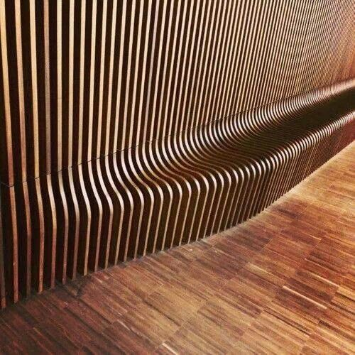 Wood Slat Wall To Bench All Cnc Milled Magazine 2016 1 Pinterest Wood Slat Wall Slat Wall