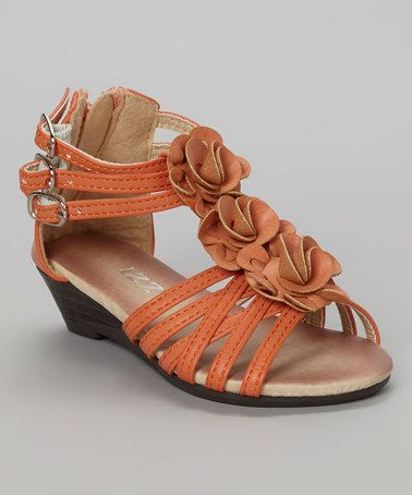 This Orange Olivia Flower Wedge Sandal by IZZY is perfect! #zulilyfinds