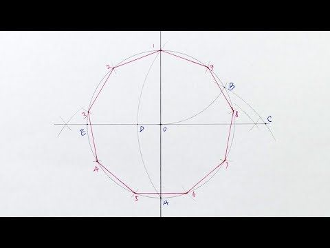 Constructing A Regular Nonagon Inside A Circle Step By Step Approximate Drawing Youtube In 2021 Drawings Circle Step