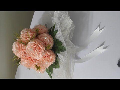 طريقه عمل بوكيه ورد صناعى للعروسه Youtube