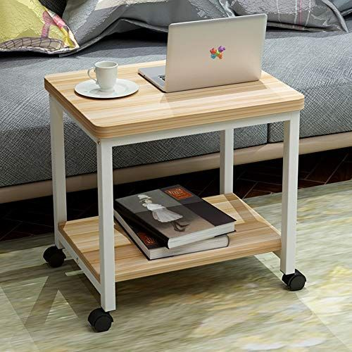 Cleave Waves Sofa Side Table With Wheels Solid Wood End Table
