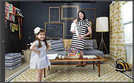 Kids Room Chalk Board Wall w/ Frames. The frames could hang using magnetic paint under the chalkboard paint.