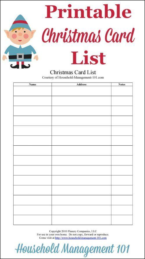 Free Printable Christmas Cards Address List {25 Days to an - free printable christmas lists