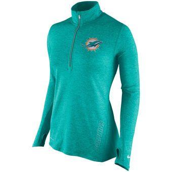 Nike Miami Dolphins Women's Aqua Stadium Element 1/2 Zip ...