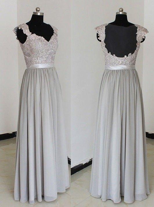 Elegant Sweetheart Floor Length Chiffon Silver Bridesmaid Dresses,