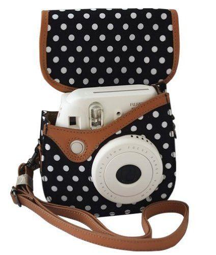 Amazon.com : Colorful Dots Spot Camera PU Leather Case Bag For Fujifilm Instax mini 8 + Free Shoulder Strap - Black : Fuji Camera Case : Camera & Photo