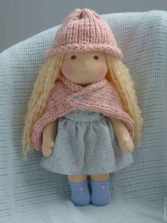 Купить Лапушка, 39 см - бледно-розовый, голубой, вальдорфская кукла, вальдорфская игрушка