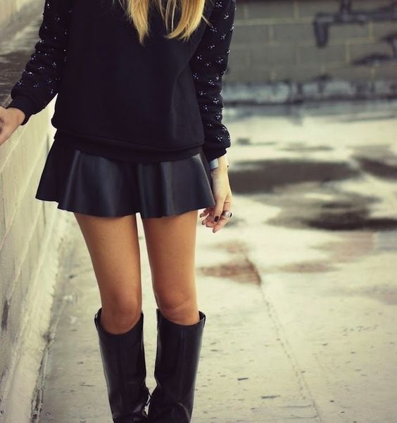 knee high boots and mini skirt trends i