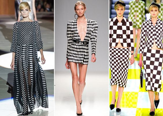 Trends for Spring/Summer 2013: This highly graphic look also popped up on Balmain's Harlequins and in a mind-bending optical illusion for Marc Jacobs own collection.