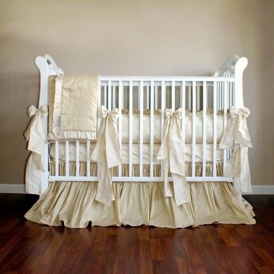 custom 4 piece crib bedding set warm ivory and champagne shades of silk dupioni baby. Black Bedroom Furniture Sets. Home Design Ideas