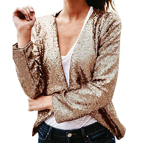 Women Long Sleeve Sequined Irregular Jacket Cardigan Tops Cover Up Blouse Coat