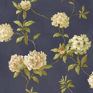 Handpainted III Rhodedendrum/Script Denim-Powder-Olive Wallpaper HP0350
