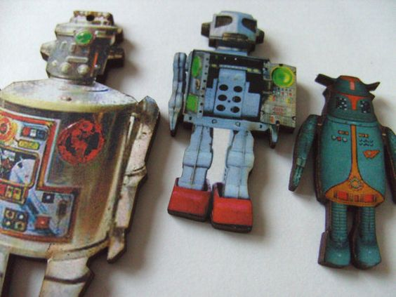 Set of 3 magnets ROBOT  wooden magnets fridge by NewellsJewels