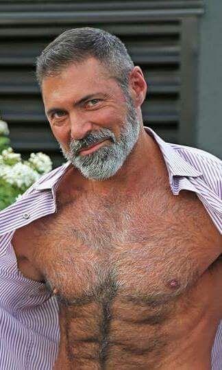 Bear gay grey haired man older