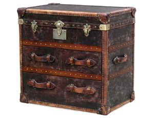 Hampton Trunk Dresser. Constructed of a solid wood frame covered with handmade distressed 'vintage cigar' antique leather. This two drawer + trunk is without question the manliest sophisticated dresser.