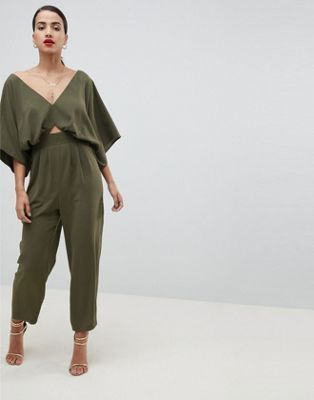Image 1 of ASOS DESIGN Jumpsuit With Kimono Sleeve And Peg Leg