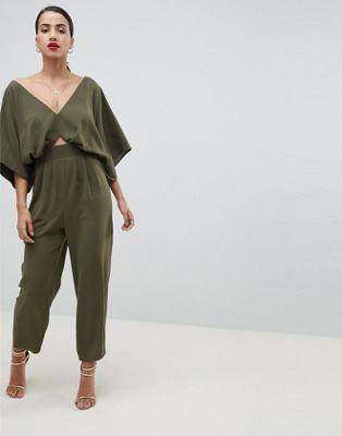 Image 1 of ASOS DESIGN Jumpsuit With Kimono Sleeve And Peg Leg