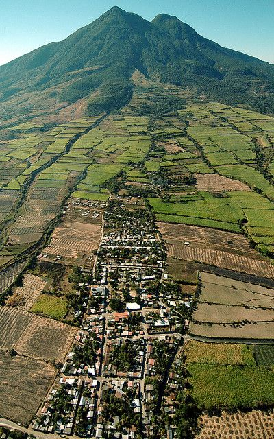 Village on the slopes of Chinchontepec Volcano, El Salvador