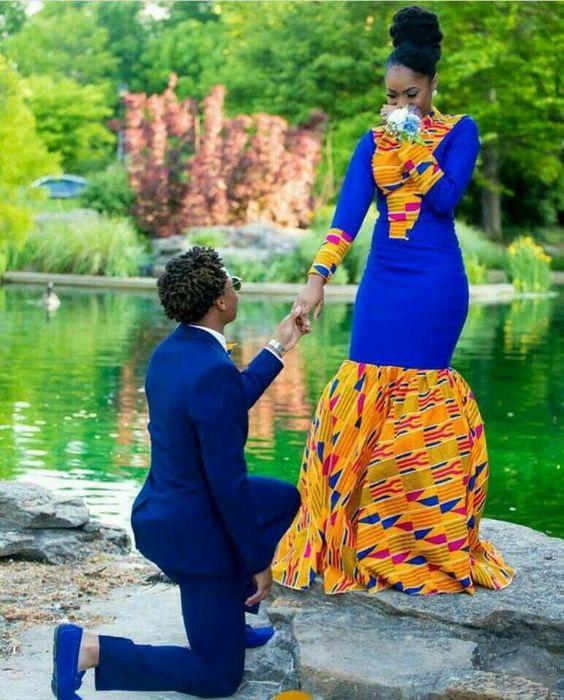 Tenue de mariage de couple. Cette tenue couple africain est bien confectionnée pour faire une votre occasion spéciale. La beauté de cette tenue vous impressionnera et tous les deux vous fera sentir spécial. Il est livré avec une robe intelligemment mélangée avec une impression de Kita, un