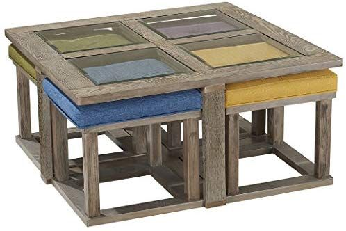 Amazon Com O K Furniture Square Coffee Table With 4 Nesting